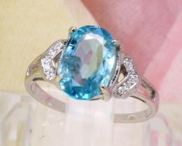 Blue Zircon 2.25g Natural Blue Zircon 925 Sterling Silver Ring E2401