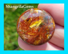 26mm RED Pietersite round cabochon AAA 30 by 26 by 4.5mm red gold and blue