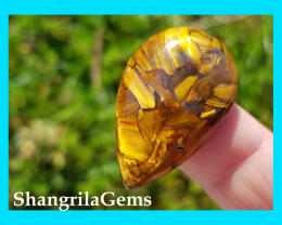 31mm Gold Pietersite oval cabochon AAA 31 by 20 by 4.5mm