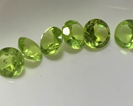 ⭐6 BRIGHT PERIDOT GEMS 5.00MM EACH no reserve