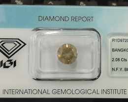 2.08 Cts IGI CERTIFIED UNTREATED NATURAL FANCY YELLOW-BROWN COLOR DIAMOND
