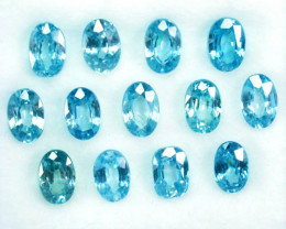 ~SPARKLING~ 10.69 Cts Natural Blue Zircon 13 Pcs Oval Cut Cambodia