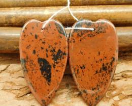 New high polished heart cut mahogony obsidian stone earring pairs (G0066)