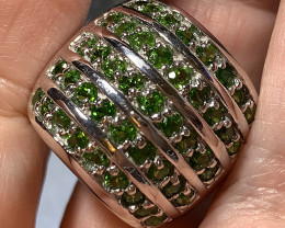 ⭐Huge Glittering Chrome Diopside Sterling Silver ring Size 9