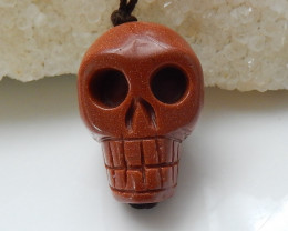 Hand Carved Skull Pendant Bead ,Red Sunstone Gemstone C266