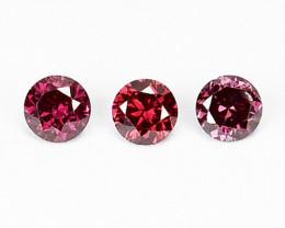 Natural Purplish Pink Diamond 3 Pcs Round Africa 0.09 Cts