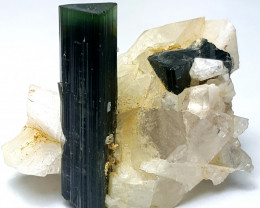 Cute Tourmaline with Quartz and Alibite 75 Cts - Pakistan