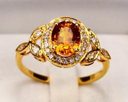 9K Gold  Orange Sapphire Diamond Engagement Ring Sz7.5 A2901