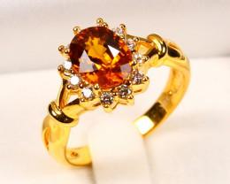 9K Gold Orange Sapphire Diamond Engagement Ring Sz6 E2903