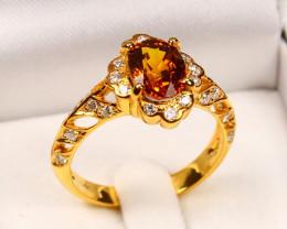 9K Gold Orange Sapphire Diamond Engagement Ring Sz7 E2909