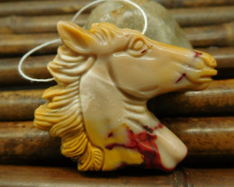 Gemstone Mookiate jasper handcrafted horse figure pendant for gift(G0072)