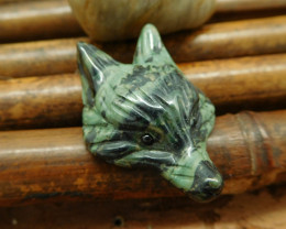 Natural ocean kambaba carved fox head bead for necklace(G0076)