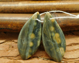 New arrival ocean jasper dainty earring bead cabohcon pair(G0078)