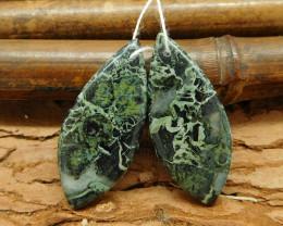 Green jasper free form earring bead natural stone bead (G0081)