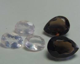 45.35Ct Rose quartz&  Smoky Quartz mix cut stones