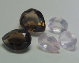40.00Ct Rose quartz&  Smoky Quartz mix cut stones