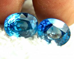 15.22 Tcw. Blue Southeast Asian VVS Zircon Pair - Superb