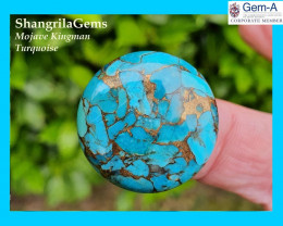 30mm Mojave Turquoise cabochon round 30mm by 5mm deep THE BEST!