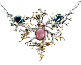 Pink Opal Topaz Rhodolite Ruby Emerald 925 Silver Gold Necklace 19In
