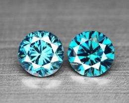 *NoReserve*Blue Diamond 0.21 Cts 2Pcs Sparkling Blue Color Natural