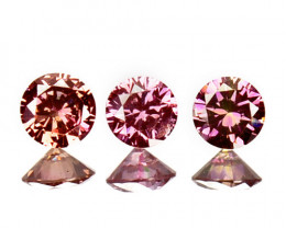 ~SET~ 0.10 Cts Natural Purplish Pink Diamond 3 Pcs Round Africa