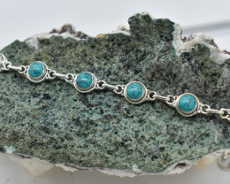 TURQUOISE NATURAL UNTREATED  BRACELET 925 STERLING SILVER JE1796