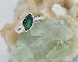 RING 925 STERLING SILVER GREEN ONYX  NATURAL GEMSTONE JE1797