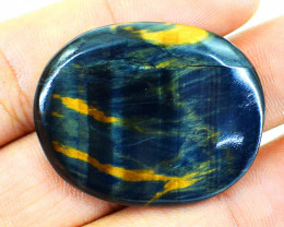 Genuine 69.00 Cts Blue Power Tiger Eye Cabochon