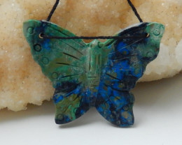 Hand Carved Butterfly Pendant Bead ,Natural Chrysocolla Gemstone C300