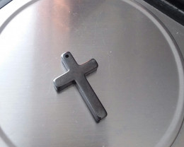 HEMATITE CROSS PENDANT CARVING FOR JEWELRY MAKING
