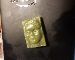 GREEN JADE PENDANT CARVING - HAND CARVED CHILD