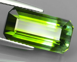 6.70 Cts Attractive Natural Bi-Color Green Tourmaline Gem Octogon Mozambiq!