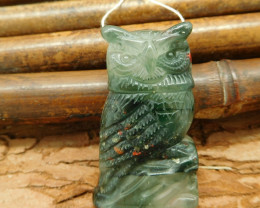 Natural gemstone african bloodstone carving owl pendant bead for animal lov
