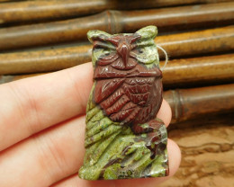 Bloodstone carved owl pendant bracelet jewelry (G0084)
