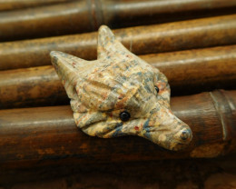Fox carving gemstone leopard jasper animal cavred fox pendang bead (G0087)