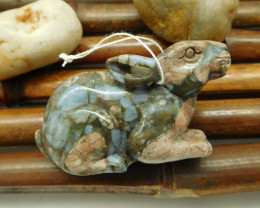Natural crinoid fossil gemstone carving rabbit ornament decoration (G0090)