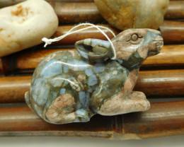 Natural crinoid fossil gemstone carving rabbit ornament decoration (G0090)