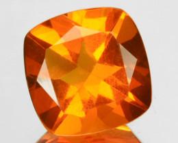 1.76 Cts Fiery Orange Natural Mexican Fire Opal 8 mm Cushion Cut