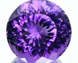 ~FLOWER CUT~ 12.95 Cts Natural Purple Amethyst 15 mm Round Cut Bolivia