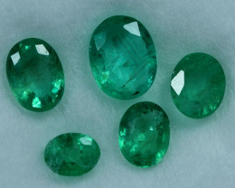 1.60cts 5 Pieces Stunning Green Zambian Emerald Parcel