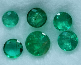 1.85cts 6 Pieces Splendid Fine Green Zambian Emerald Parcel