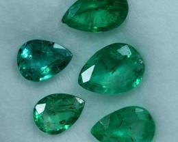 2.25cts 5 Pieces Delicate Fine Green Zambian Emerald Parcel