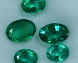2.10cts 5 Pieces Fine Green Zambian Emerald Parcel