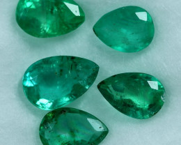 2.15cts 5 Pieces Top Notch Fine Green Zambian Emerald Parcel