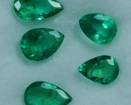1.85cts 5 Pieces Brilliant Fine Green Zambian Emerald Parcel