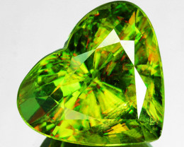 ~SPARKLING~ 5.43 Cts Natural Sphene Flashing Olive Green Heart Cut Russia