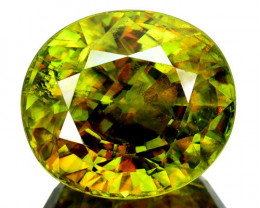 ~SIZZLING~ 10.90 Cts Natural Sphene Flashing Olive Green Oval Cut Russia