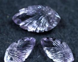 16.00cts 3 Pcs Purplish Pink Africa Amethyst Carving Gemstone