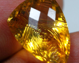 14.60cts Extremely Gold Yellow Citrine Fancy Carving Gemstone