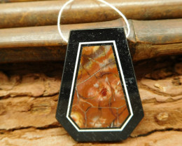 Picasso jasper intarsia obsidian pendant bead for jewelry making (G0105)